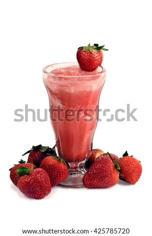 Tall glass of delicious, cold strawberry smoothie, isolated on white/ Delicious Strawberry Smoothie With Strawberries - stock photo