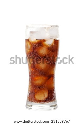 tall glass with cola drink with chunks of ice isolated on white background with clipping path.