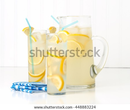 Tall glasses of ice cold homemade lemonade. - stock photo