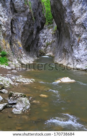 Tall limestone gorge walls and river flowing at the bottom - stock photo