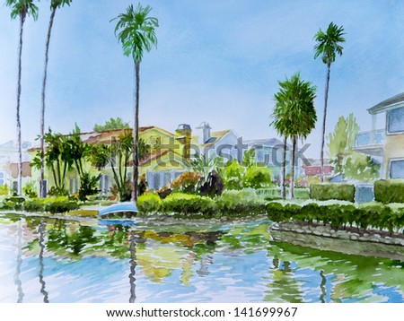Tall palm trees grace a corner on a canal in Venice, CA, in a watercolor painting.
