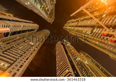 Tall residential buildings in Dubai - stock photo