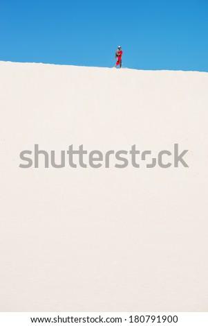 Tall sand dunes in Little Sahara, Kangaroo Island, South Australia  - stock photo