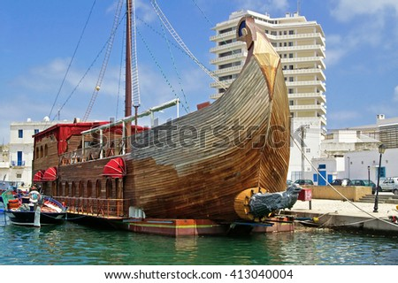 Tall ship-restaurant by the dock of the ancient fishing city Bizerte, Tunisia