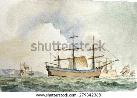 Tall Ship Shipping, Marine Watercolor Painting, Vintage Seascape Background.