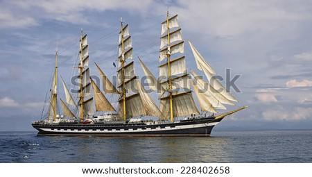 Tall Ship under sail - stock photo