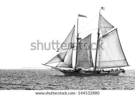 Tall ship under sail in monochrome, isolated against white, with copy space - stock photo