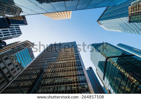 Tall skyscrapers in downtown of Hong Kong - stock photo