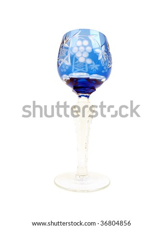 tall slender translucent Blue crystal glass