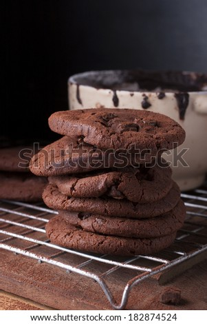 Tall stack of soft chocolate chip cookie - stock photo