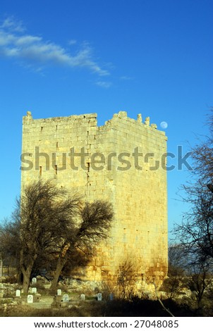 Tall tower and grave yard in Uzunjaburch, Turkey