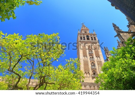 Tall tower of the Giralda belfry above the Cathedral of Saint Mary of the See (Seville Cathedral) in Seville, Andalusia, Spain - stock photo