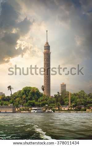 Tall TV tower in Cairo near Nile - stock photo