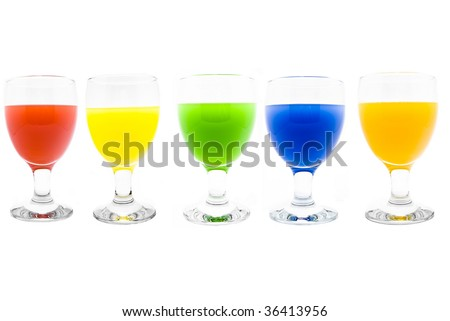 Tall wine glasses on a white background