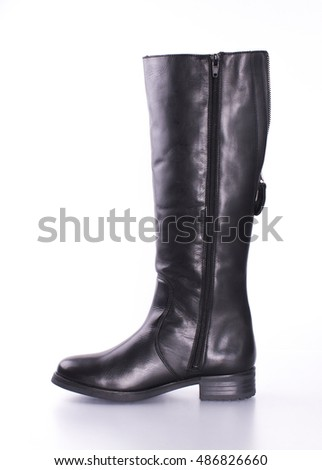 Brown Knee High Leather Boots Stock Photos, Royalty-Free Images ...