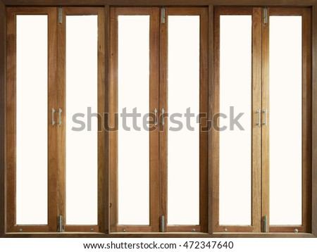 Tall wooden windows blurred background in living room
