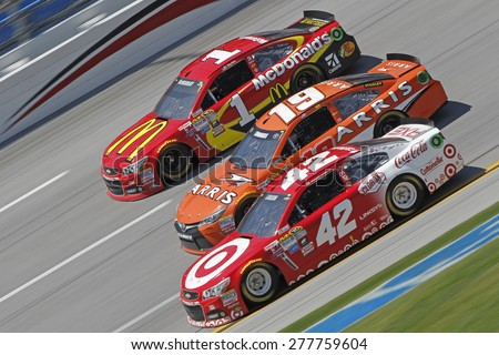 Talladega, AL - May 03, 2015:  Jamie McMurray (1), Carl Edwards (19), and Kyle Larson (42) battles for position during the GEICO 500 race at the Talladega Superspeedway in Talladega, AL. - stock photo