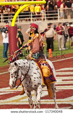 TALLAHASSEE, FL - OCT. 27:  Chief Osceola,  on Renegade, gets the crowd going prior to the football game between Florida State Seminoles and Duke University at Doak Campbell Stadium on Oct. 27, 2012.