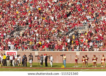 TALLAHASSEE, FL - OCT. 22:  Sold out crowd at Doak Campbell Stadium, home of Florida State football team on Oct. 22, 2011 in Tallahassee, FL. It has a capacity of 82,300, making it the 14th largest stadium in the NCAA. - stock photo