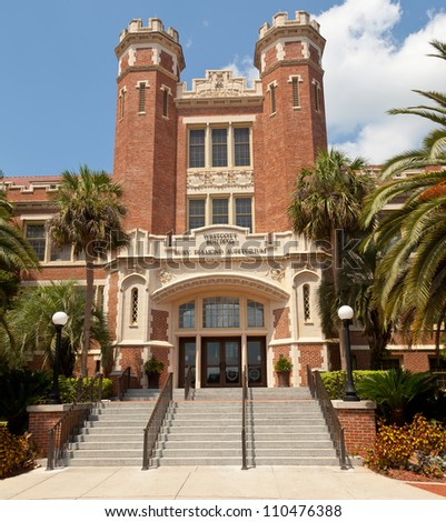 TALLAHASSEE, FLA - AUG. 12:  The Westcott Building on the campus of FSU. The building is a historic site where tradition rules that graduates have their picture taken in Tallahassee on Aug. 12, 2012. - stock photo