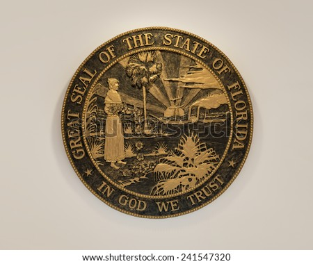 TALLAHASSEE, FLORIDA - DECEMBER 5: Florida State Seal on display in the Old Florida State Capitol building on December 5, 2014 in Tallahassee, Florida - stock photo