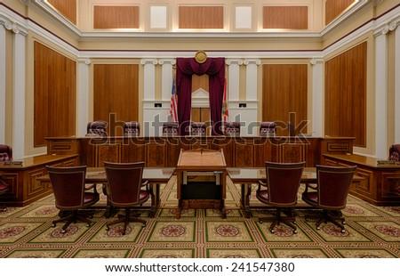 TALLAHASSEE, FLORIDA - DECEMBER 5: Florida Supreme Court chamber on December 5, 2014 in Tallahassee, Florida - stock photo