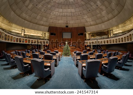 TALLAHASSEE, FLORIDA - DECEMBER 5: Senate chamber decorated for the holidays at the Florida State Capitol building on December 5, 2014 in Tallahassee, Florida
