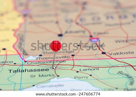 Tallahassee pinned on a map of USA  - stock photo