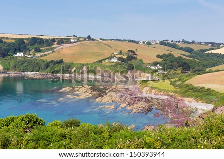 Talland Bay Cornwall England UK on a beautiful blue sky sunny day