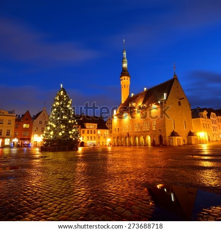 Tallin central square and the city Hall by night. Estonia - stock photo