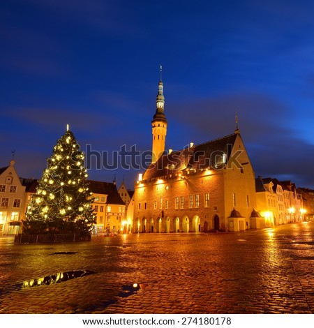 Tallin city central squareand the city Hall by night. Estonia - stock photo