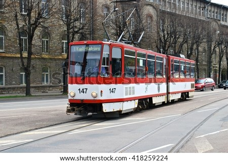 TALLIN, ESTONIA - MAY 10. Tallinn is the only city in Estonia ever to have trams or trolleybuses in Tallin, Estonia on May 10th, 2014. - stock photo