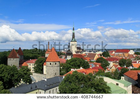 Tallin landscape. Estonian city view.