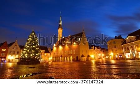 Tallinn city central squareand the city Hall by night. Estonia - stock photo