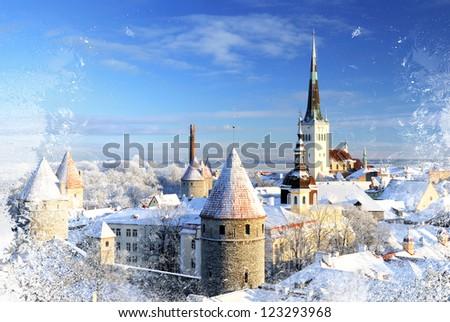 Tallinn city. Estonia. Snow on trees in winter, panoram view - stock photo