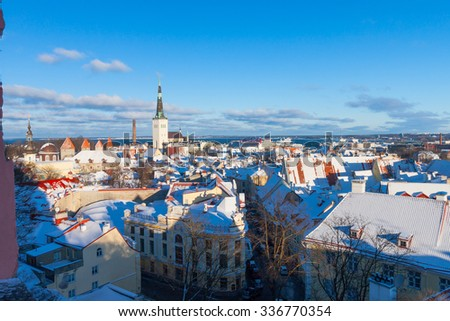 Tallinn city panoramic winter landscape, Estonia - stock photo