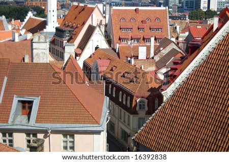 Tallinn, cityscape with red roofs. - stock photo