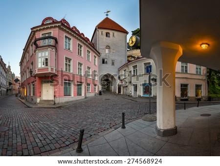 Tallinn Down Town and Tower Gate to the Upper Town,  Tallinn, Estonia - stock photo