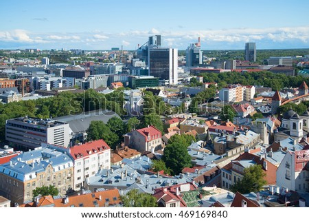 TALLINN, ESTONIA - AUGUST 01, 2015: Urban landscape of august evening. View from the bell tower of the Church of St. Olaf