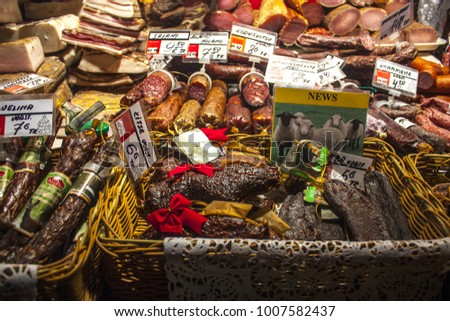 Tallinn, Estonia - January 3, 2018:  Meat, sausages, balyk on Christmas fair in the streets of the Old Tallinn