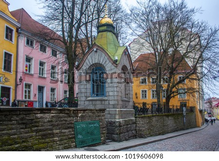 Tallinn, Estonia - January 3, 2018: Old Town Architecture in Tallinn, Estonia