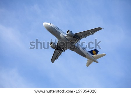 TALLINN, ESTONIA - June 05: Lufthansa Airbus A319-100 airliner takes off from TLN Airport on June 05, 2011 in Tallinn,Estonia. The A319-100 is passenger airliner - stock photo