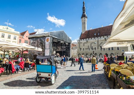TALLINN, ESTONIA - MAY 31: People relax on the celebration of the Days of the Old Town On May 31, 2015 In Tallinn.