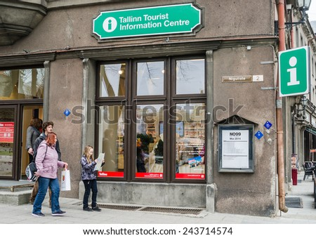 TALLINN,ESTONIA - MAY 1: Tallinn Old town on MAY 1,2014. Tourists in Tallinn information centre. It's Old Town is listed as a UNESCO World Heritage Sites.