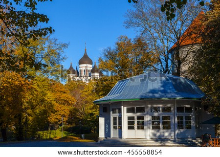 TALLINN, ESTONIA - 24 OCT 2015. Alexander Nevsky Cathedral at sunny summer day, an orthodox cathedral in the Tallinn Old Town, Estonia.