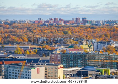 TALLINN, ESTONIA - 24 OCT 2015. Skyline view of new city at the autumn. Business and residential buldings.