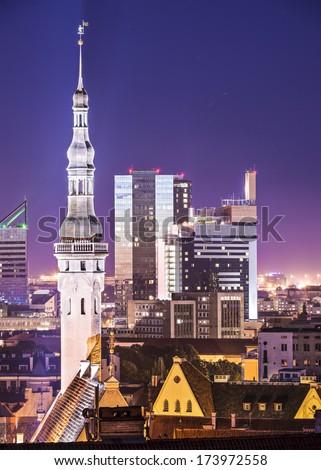 Tallinn, Estonia old city and new city skyline. - stock photo