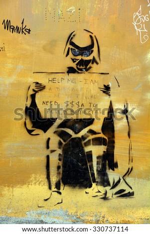 TALLINN ESTONIA 09 18 2015: Street art Darth Vador vietman war veteran, Tallinn is the perfect place to walk in the back alleys and abandoned areas, looking for street art. - stock photo