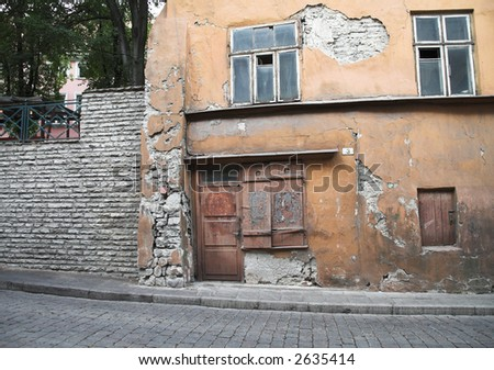Tallinn Estonia Wall and Door - stock photo