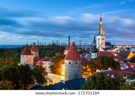 Tallinn is the capital of Estonia. The historical and medieval heart of the city is the hill of Toompea, covered in cobbled streets and filled with medieval houses and alleyways.  - stock photo